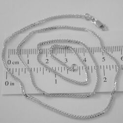 Solid 18k White Gold Chain Necklace 2mm Ear Square Link 23.62 In Made In Italy