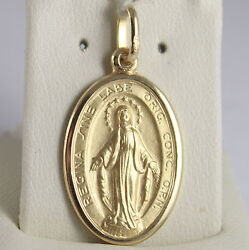 Solid 18k Yellow Gold Miraculous Medal Virgin Mary Madonna 1.10 Made In Italy