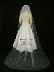 2T Cut Edge Cathedral Royal  Crystal Pearl Wedding Bridal Veil Off White Ivory