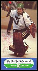 1980's Greg Millen Autograph On Nm Promotional Hartford Whalers Courant Postcard