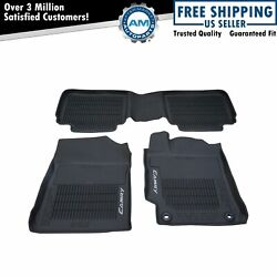Oem Black Rubber All Weather Floor Mats Front And Rear Set Of 3 For Toyota Camry