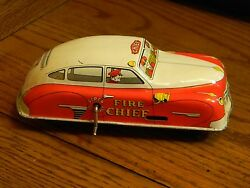 courtland fire chief tin litho toy car