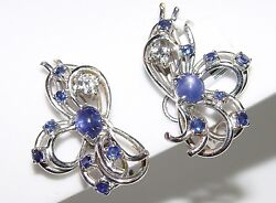 Vintage Blue Star Sapphire And 0.51ct Diamond Clip Earrings 28mm 14k Gold