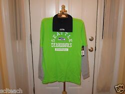 Brand New Seattle Seahawks 2 Piece Youth Knit Hat And L/s Faux Layer Tee Set