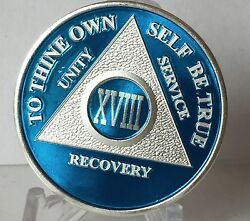 Blue Silver Plated 18 Year Aa Chip Alcoholics Anonymous Medallion Coin