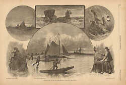 New England Winter Life By The Sea Ice Boat Vintage 1881 Antique Art Print