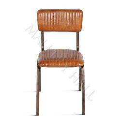 Buffalo Vintage Retro Leather Upholstered Dining Chairs Channel Tufting Iron