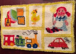 Finished Latch Hook Rug Completed 23quot; x 35quot; Yellow Border Car Doll Blocks Train
