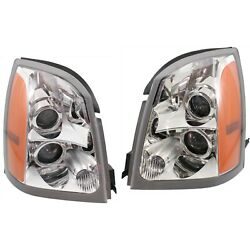 Headlight Set For 2004-2009 Cadillac Srx Left And Right With Bulb 2pc