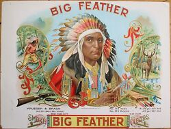 1900 And039big Featherand039 Indian Chief Sample Cigar Box Label- Native American Western