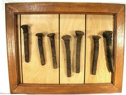 Antique Railroad Train Tools Rr Spike Nail Tie Display Framed Collection 7 Pcs