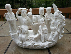 Collectible Handwork White Ceramic Chinese 8 Immortal On Boat Statue 16.5 L