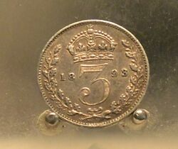 1893 Open 3 Great Britain Silver 3 Pence Key Date Old World Silver Coin