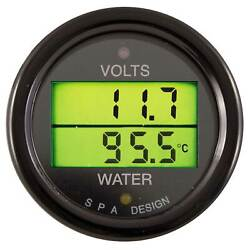 Spa Design Volts And Water Temperature Dual Gauge Race/rally In Black