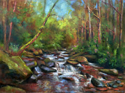 Ring of Kerry Ireland Stream 30x40 in. Original Oil on canvas  HALL GROAT II