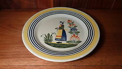 Vintage French Quimper Henriot Pottery 10 1/2 Dinner Plate - Woman Center