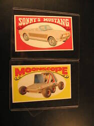 1970 Topps Way Out Wheels 2 Proof Card 3 And 21 Moonscope And Sonny's Mustang