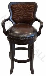 Solid Hardwood Dark Rich Tiger Leather Front Embossed Back Rolled Armed Stool