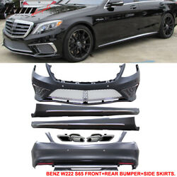 Fits 14-17 Benz W222 S Class Pdc Front + Rear Bumper Cover + Side Skirts 2pc Pp