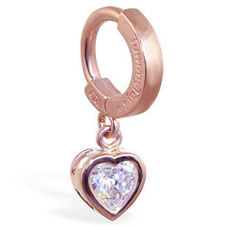 TummyToys 14K Rose Gold Cz Heart Belly Button Ring Sexy Jewelry for the Navel