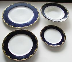Rosenthal Frederick The Great Cobalt Blue Rim W/gold Flowers And Leaves 4 Piece B