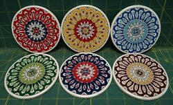 6 90mm Hand Painted Coasters Ceramic Cup Holders Made In Greece