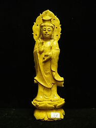 Yellow Jade Standing Kwanyin Yj04 - Rare And Unique - Only One