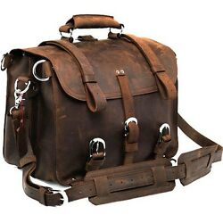 Men's Women's Thicken Saddle Leather Briefcase Messenger Backpack 17