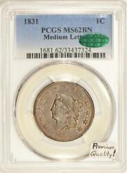 1831 Medium Letters Large Cent Pcgs And Cac Ms-62 Bn Premium Quality