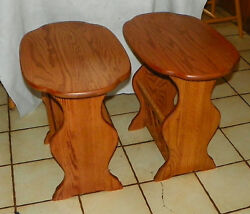 Pair Of Solid Oak Oval End Tables / Side Tables With Magazine Rack T554