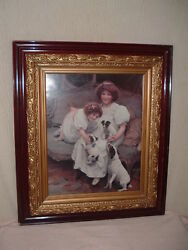 Vintage Victorian Print Jack Russell Terrier Dogs Mother & Pups