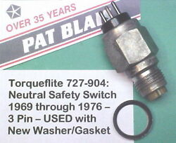 Torqueflite Neutral Safety/reverse Lamp 3-pin Switch 1969-andrsquo76 Long-style Andndash Used