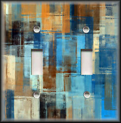 Metal Abstract Art Light Switch Plate Cover -  Blue Copper Brown Art Home Decor