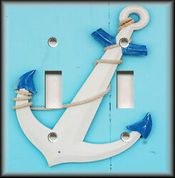 Metal Light Switch Plate Cover - Wood Anchor On Blue Coastal  Decor Nautical
