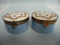 Pair Of Vintage Haviland France Hinged Trinket Boxes - Hand Painted And Enameled