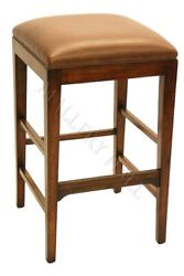 Solid Wood Backless Leather Bar Stools Caramel Brown CHOOSE QTY 4 6 or 8---