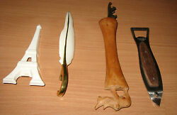 Lot Of 4 Figural Bottle And Can Openers Eiffel Tower Feather Fish Rhinoceros