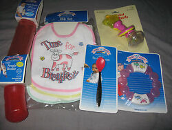 Bibs Rattle Teether Feeding Spoon Angle Bottles Baby Pink Meal Time New