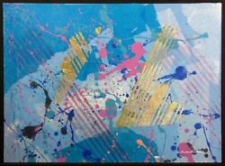 Frank Rowland Airborne Original Mixed Media Art On Paper With Gold Leaf Obo