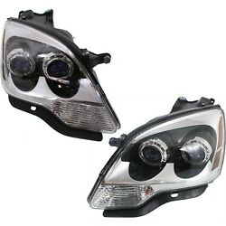 2007-12 Replacement Halogen Projector Headlight Pair For Gmc Acadia W/ Bulb