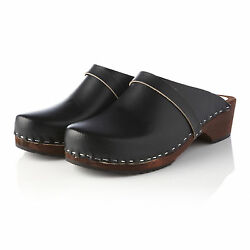 Hand Made In The Uk Clog Wooden Sole Leather Upper