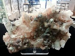 Himalayan Quartz Cluster, Colored With Chlorite Green And Iron Pink, Orange,