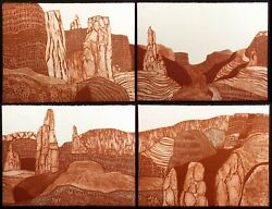 John Ross Monolith Valley Wall Escarpment 4 Signed Collagraph Etchings Rust