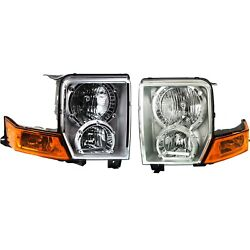 Headlights Headlamps Left And Right Pair Set New For 06-10 Jeep Commander