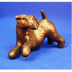 LAKELAND TERRIER (PLAYING) COLD-CAST BRONZE FIGURINE  6