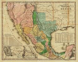 """1840s """"United States of Mexico"""" Vintage Style Southest Wall Map 24x30"""