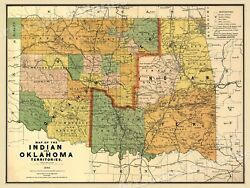 1892 Indian Territory Historic Vintage Style Oklahoma Wall Map 18x24