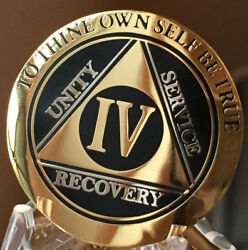4 Year Aa Medallion Black Gold Plated Bi-plate Alcoholics Anonymous Chip Coin