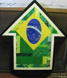 Above American Artist Large Modern Mixed Media Abstract Above Brazil 2011