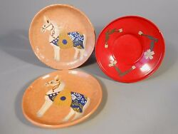 Lot 3 China Chinese Plates 2 Pottery Horse Tang San Cai And 1 Red Lacquer 20th C.